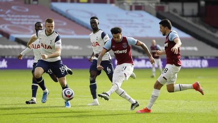 West Ham United's Jesse Lingard scores their second goal of the game during the Premier League match