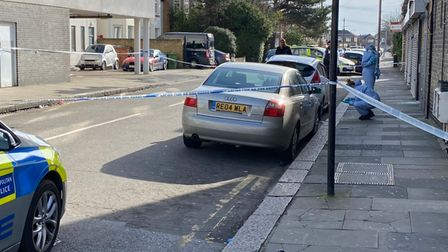 A crime scene was in place on Saturday in Broomhill Road after a man suffered head injuries following an assault.