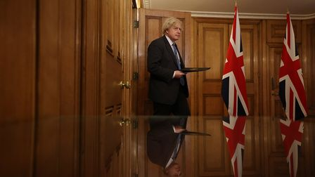 Boris Johnson holds a press conference at 10 Downing Street