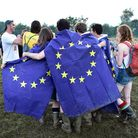 Festivalgoers wearing EU flags at the Glastonbury Festival, at Worthy Farm in Somerset. PRESS ASSOCI