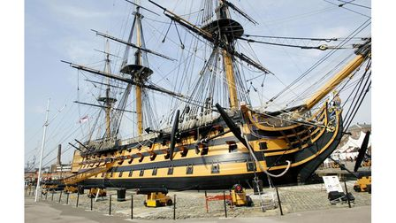 HMS Victory in Portsmouth. Nelson's historic ship was designed by Sir Thomas Slade, who is buried in St Clement's...