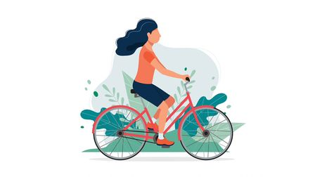 Cartoon woman staying active and enjoying nature while cycling