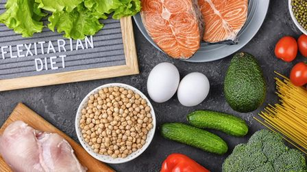 A flat lay of ingredients for a flexitarian diet