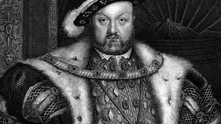 """A portrait of King Henry VIII of England is depicted in this vintage engraving by W. T. Fry (1789 -"