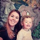 Rose Weaver, from Norwich, with her daughter Freya Hipperson and the finished jungle mural.