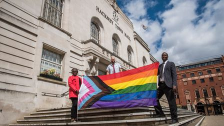 Hackney leaders raise inclusive flag at Hackney Town Hall