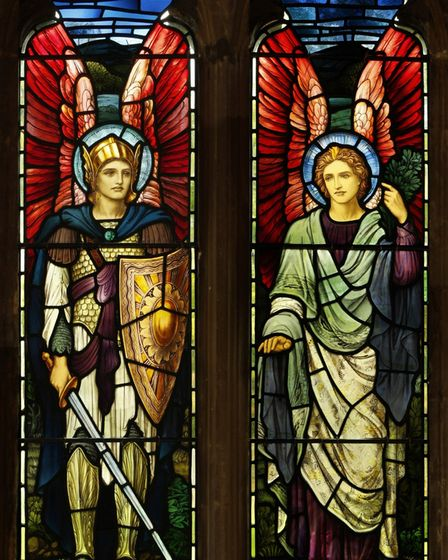 The restored stained glass window at St Peter's Church, Offord Darcy.
