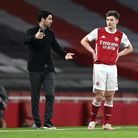 Arsenal manager Mikel Arteta (left) and Kieran Tierney in discussion during the Premier League match