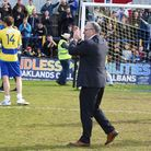 Ian Allinson applauds the fans at the end of the 2015-16 season.