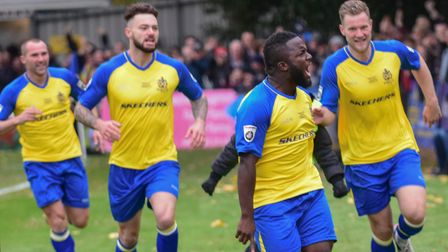 Junior Morias put St Albans City ahead against Carlisle United in 2016.