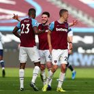West Ham United's Declan Rice (centre) and Issa Diop (left) react after the Premier League match at
