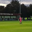 Fans are well spaced out during Potters Bar Town's friendly with Great Wakering Rovers.