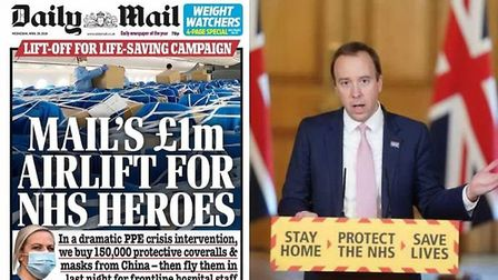 Daily Mail front page (left) and Matt Hancock during a coronavirus briefing (right)