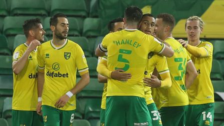 Mario Vrancic of Norwich celebrates scoring what turns out to be the winning goal during the Sky Bet
