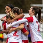 Stevenage FC women celebrate a goal