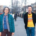 Clair Battaglino and Niall Crowley standing on a Hackney street.