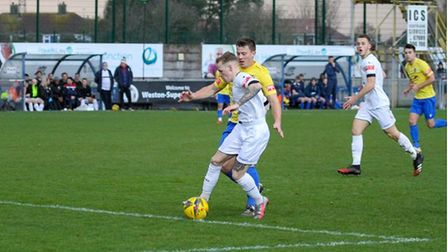 James Waite in action for Weston against Willand Rovers