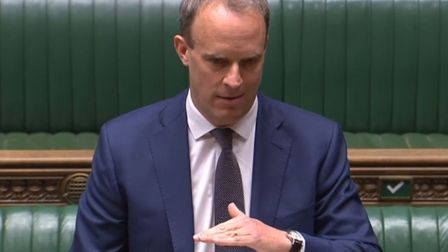 Foreign secretary Dominic Raab speaking during Prime Minister's Questions in the House of Commons. P