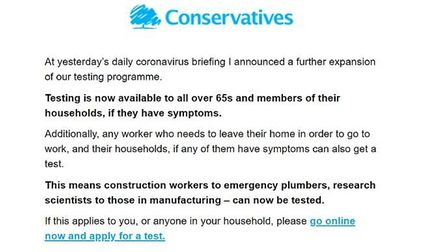 Matt Hancock's e-mail about coronavirus tests to party supporters. Photograph: Twitter.