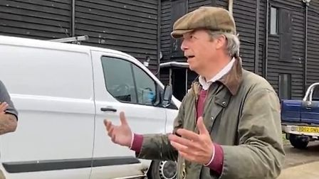 Nigel Farage appears in a video ranting about migrants on social media. Photograph: Twitter.