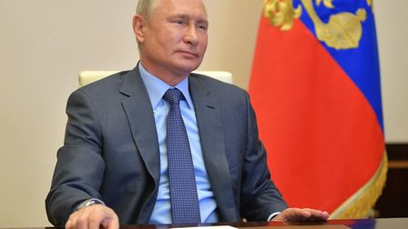 Russia's President Vladimir Putin during a video conference meeting. Picture: Alexei Druzhinin\TASS