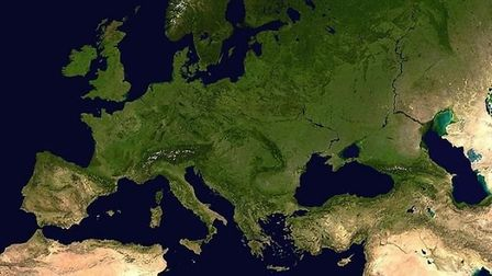 A composed satellite photograph of Europe in orthographic projection. Photograph: NASA/Wikipedia