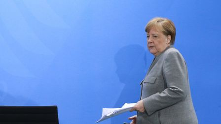 German Chancellor Angela Merkel informs the press about the latest measures of the government in the