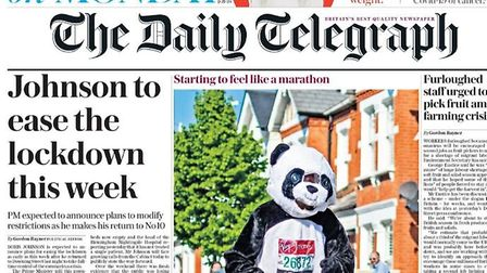 The front page of the Telegraph as Boris Johnson plans his return to Downing Street during the coron