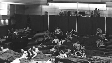 BBC staff sleep on matresses in the Concert Hall in the basement of Broadcasting House during the Se