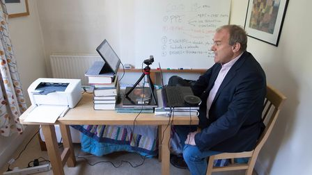 Liberal Democrat acting leader Sir Ed Davey takes part in the first virtual Prime Minister's Questio