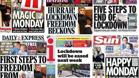 Newspapers report on an easing of lockdown following government briefings. Photograph: Twitter.