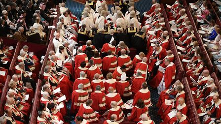 Peers take their seats in the House of Lords before the State Opening Of Parliament