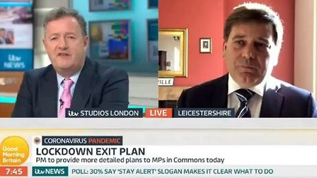 Brexiteer MP Andrew Bridgen (right) appearing on Good Morning Britain with Piers Morgan; Twitter