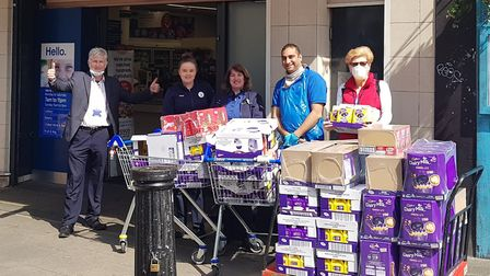 Cllr Ian Henderson collecting food for the local food bank outside his local Tesco. Photograph: Twit