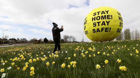 A high-profile 'Stay Home Stay Safe' sign in Kildare during the coronavirus lockdown. Photograph: Br