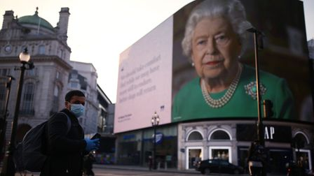 An image of Queen Elizabeth II and quotes from her broadcast on Sunday to the UK and the Commonwealt