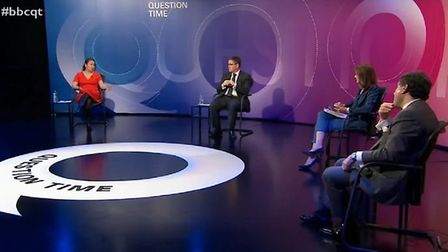 The panel on a previous episode of BBC Question Time practice social distancing. Photograph: BBC.