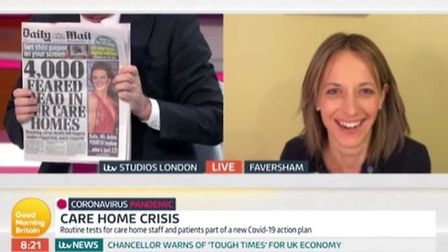 Helen Whately is interviewed on Good Morning Britain over the number of care home deaths due to coro