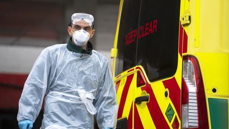 An NHS worker wearing PPE as the UK continues in lockdown to help curb the spread of the coronavirus