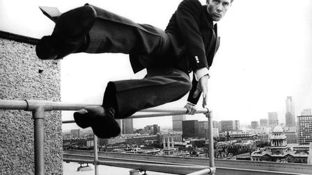 Lewis Collins practising stunts for his new role as Captain Skellen in Euan Lloyd's film 'Who Dares