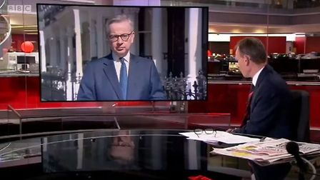 Michael Gove is questioned about Boris Johnson skipping coronavirus cobra meetings. Photograph: BBC.