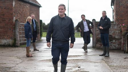 Labour leader Sir Keir Starmer during a visit to National Farmers' Union president Minette Batters' farm in Wiltshire