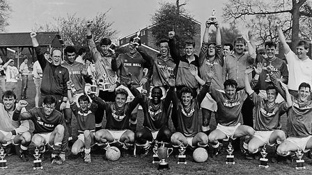 Herts Ad Sunday League side Chequers celebrate in 1987