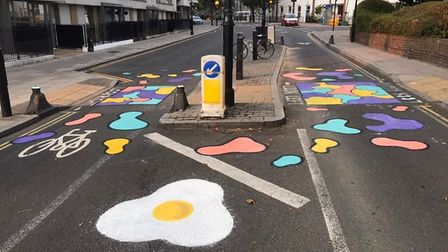 Low Traffic Islington group members painted the streets in St Peters at an event to promote low-traffic neighbourhoods