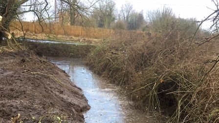 A ditched cleared of brambles and debris in Tydd St Giles.