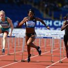BIRMINGHAM, ENGLAND - JUNE 05: Tiffany Porter of Great Britain clears the last hurdle in the Women'
