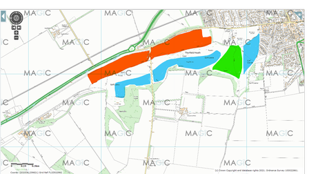 A map of Therfield Heath, marking in red the areas with the highest density of nesting birds