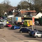 Emergency services at the collision in Woodbridge Road.