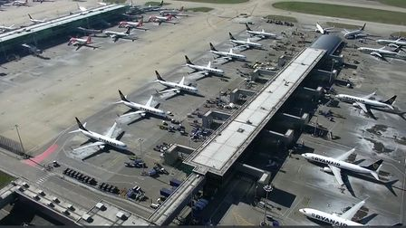 London Stansted Airport captured by a drone during the Covid-19pandemic