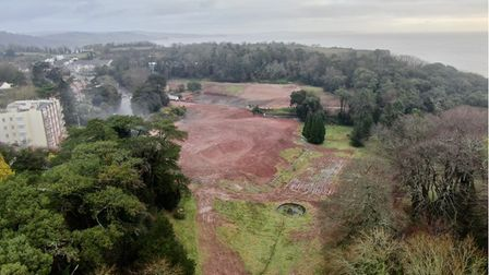 Aerial picture of a former hotel site in Torquay